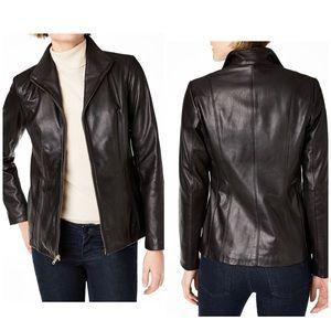 Cole Haan Lambskin Leather Wing Collar Jacket